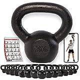POWRX Kettlebell 2 - 30 kg Guss inkl. Workout | Kugelhantel Schwunghantel Rundgewicht aus Gusseisen