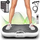 Sportstech Vibrationsplatte VP200 mit Bluetooth, innovativer Oszillationstechnologie für zu Hause, inkl. Poster + Trainingsbändern + Fernbedienung + Integrierter Lautsprecher im Vibrationsgerät (Weiß)