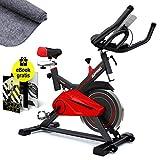 Sportstech Profi Indoor Cycle SX100 mit 13KG Schwungrad, Gepolsterter Armauflage, Komfortsattel, Pulsmessung - Speedbike mit flüsterleisem Riemenantrieb - inklusive Bodenschutzmatte