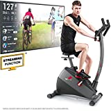 Sportstech ESX500 Ergometer - Deutsche Qualitätsmarke - Video Events & Multiplayer APP + 5,5' Display, 12KG Schwungmasse, Pulsgurt kompatibel - Fitness-Bike Heimtrainer mit flüsterleisem Riemenantrieb