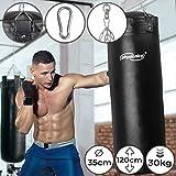Boxsack für Erwachsene - Gefüllt, Ø35cm, H120cm, Gewicht 30kg, inkl. 4-Punkt Stahlkette und Karabinerhaken - Box, Kickboxen, MMA, Taekwando, Kampfsport, Fitness, Sport, Muay Thai, Punching Bag