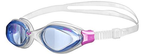 arena Damen Training Freizeit Schwimmbrille Fluid (UV-Schutz, Anti-Fog Beschichtung, Harte Gläser), Blue-Clear-Fuchsia (79), One Size