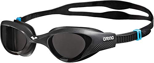 arena Unisex Training Freizeit Schwimmbrille The One (UV-Schutz, Anti-Fog Beschichtung, Harte Gläser), schwarz (Smoke-Grey-Black (545)), One Size