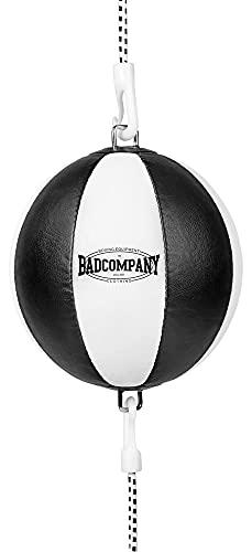 Bad Company Doppelendball aus Kunstleder inkl. elastischen Spanngurten I 25 cm Durchmesser I Boxball für das Reflex- und Boxtraining – Weiß