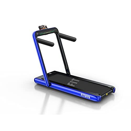Fitifito ST100 2021 Edles Laufband Lauffläche 40x110cm 1.0-12 km/h Bluetooth Fernbedienung komplett klappbar verstaubar mit Handyhalter Dualer Bildschirm Rot/Blau/Silber