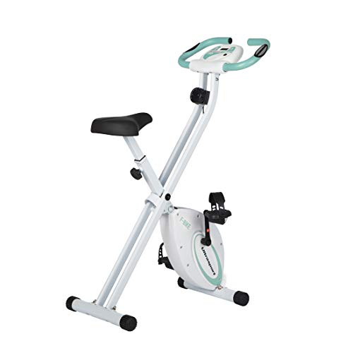 Ultrasport F-Bike Design, Fahrradtrainer, Heimtrainer, faltbares Fitnessbike mit Gelsattel, Flaschenhalter, LCD-Display, Handpulssensoren, kompakt und klappbar, belastbar bis 110 kg, Silber