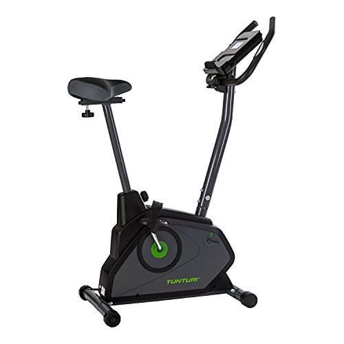 Tunturi Cardio Fit E30 Ergometer Heimtrainer Fahrrad/Fitnessfahrrad/Fahrradergometer/Hometrainer Fahrradtrainer mit Handpulssensoren + Tablethalterung - Magnetbremssystem und LCD-Bildschirmanzeige