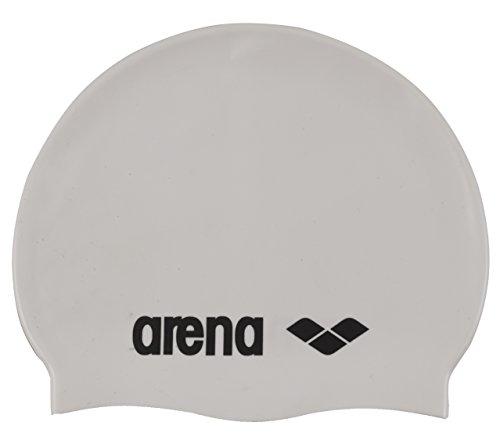 arena Unisex Badekappe Classic Silikon (Verstärkter Rand, Weniger Verrutschen der Kappe, Weich), White-Black (15), One Size