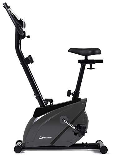 Hop-Sport Onyx Heimtrainer Fahrrad - Fitnessgerät für Zuhause mit Pulssensoren und Computer, 8 Widerstandsstufen, Schwungmasse 7 kg - Fitnessfahhrad für EIN max. Nutzergewicht von 120kg Grau