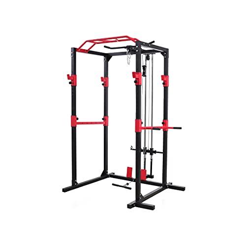 Peak Power Power Rack, massive standsichere Stahlkonstruktion, Fitness Rack Set mit 2 Spottern, Klimmzugstange, Dip-Ständer, Latzug und Ruderzug – für Anfänger und Fortgeschrittene(Schwarz/Rot)