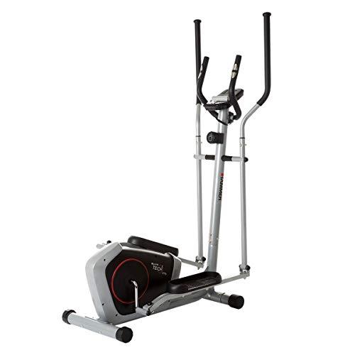 HAMMER Crosstrainer CT3, kompakt und platzsparend, Smartphone- und Tablethalterung für Multimedia-Unterhaltung, Cardiogerät mit Handpulssensoren, einfachste Bedienung, max. Gewichtsbelastung 100 kg