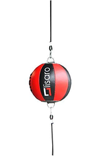 Lisaro Leder Doppelendball/Durchmesser ca. 25cm inkl. 2 elastischen Spanngurten ca. 100cm lang   schwarz-rot