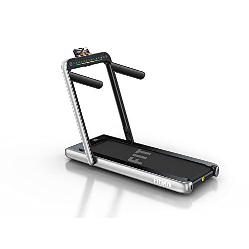 Fitifito ST100 2021 Edles Laufband Walkingpad im Büro Mini klein zuhause 1.0-12 km/h Bluetooth Fernbedienung komplett klappbar verstaubar mit Handyhalter Dualer Bildschirm (Silber)
