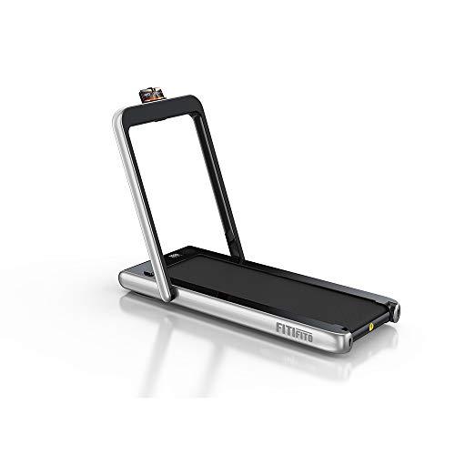 Fitifito ST100 Edles Laufband Silber im Büro zuhause unter Schreibtisch 1-12 km/h Bluetooth Fernbedienung komplett klappbar verstaubar mit Handyhalter