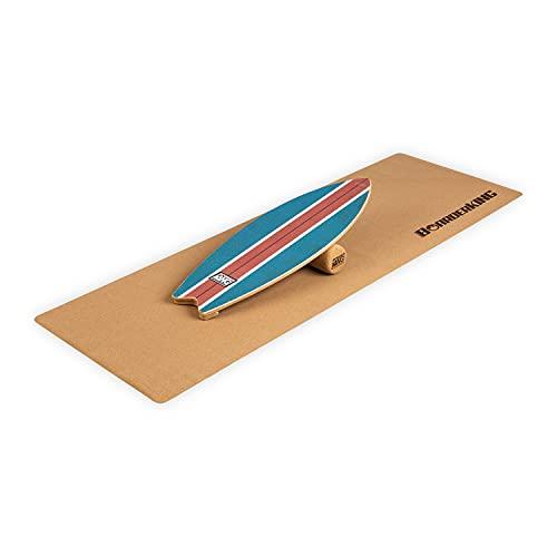 BoarderKING Indoorboard Wave Balanceboard Skateboard Surfboard Trickboard Balance Board, inkl. 10/40 Korkrolle & rutschfester Bodenschutzmatte, Material: Holz & Kork, Blau