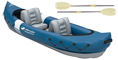 Sevylor Tahaa Kit Kajak inkl. Paddel, Kanu aufblasbar 2 Personen, aufblasbares Kajak mit robuster PVC-Außenhülle, Spannbänder für Gepäcksicherung, Stegkonstruktion für hohe Stabilität auf dem Wasser