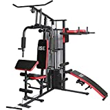 ISE Profi Multifunktione Kraftstation mit Hantelbank,Latzug,Robuste Fitnessstation,Multifunktions-Homegym,Fitness-Station SY-4009
