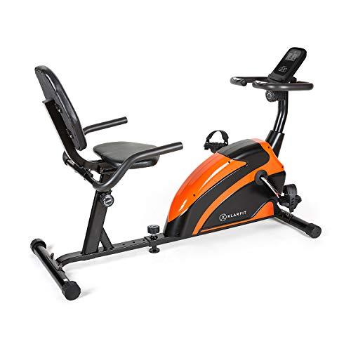 Klarfit Relaxbike 6.0 SE Liege-Ergometer - Cardiobike, Heimtrainer, Schwungmasse: 12 kg, 8-Stufiger Magnetwiderstand, Tablethalterung, PulseControl, SilentBelt Drive, max. 100 kg, orange
