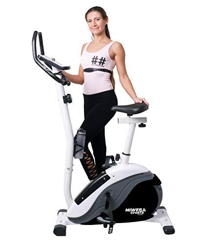 Miweba Sports Ergometer ME400 Trimmrad Cardio Heimtrainer - App Steuerung - 12 Kg Schwungmasse - Pulsgurt - Magnetbremse - LCD Display (ME400 Schwarz/Weiß)