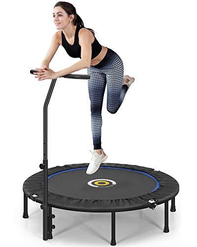 CAMBIVO Trampolin Indoor, Fitness Trampolin 127cm, faltbar Trampolin Rebounder mit höhenverstellbarem Schaumstoffgriff Zuhause, Maxbelastung bis 150kg
