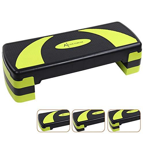 Active Forever Aerobic Stepper für zuhause, Steppbrett, 3 einstellbare Höhen(10cm/15cm/20cm), Geeignet für den Heim und Bürogebrauch