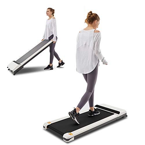 UMAY LONTEK Laufband elektrisch für Zuhause/Büro, Platzsparendes Walking Pad mit 12 Programme, bis 6 km/h, Treadmill mit LED-Anzeige, Fernbedienung, App, Weiß