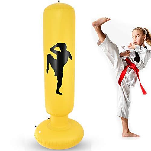 Nabance Boxsack Kinder 150CM Standboxsack Aufblasbare Boxsäule Tumbler Punching Tower Sofortiges Zurückprallen Fitness Sandsäcke für Kinder und Erwachsene zum Üben von Karate Taekwondo