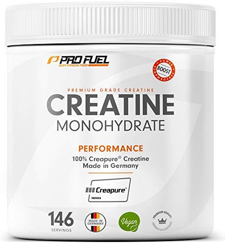 ProFuel Creatin Monohydrat Pulver (100% Creapure®, dem Premium Creatin aus Deutschland), 500g | Extra hochdosiert für Fitness & Kraftsport | Hochwertiges Kreatin made in Germany, 100% vegan KRAFTSCHUB