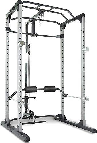 Fitness Reality 810XLT Super Max Power Rack mit Latzug, Kraftstation mit 363 kg maximaler Belastung, Power Cage mit Kabelzugturm und Klimmzugstange