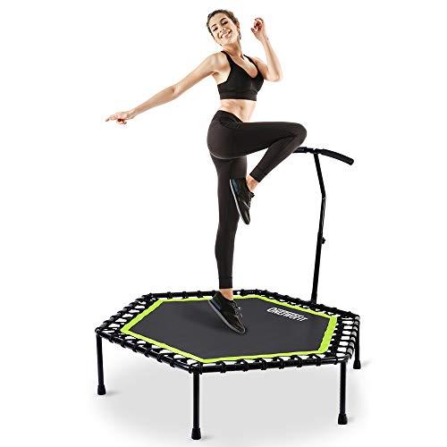 ONETWOFIT Fitness-Trampolin mit höhenverstellbarem Haltegriff, leise Gummiseilfederung, Trampolin Training wie im Fitness-Studio Trainer Workout für Erwachsene