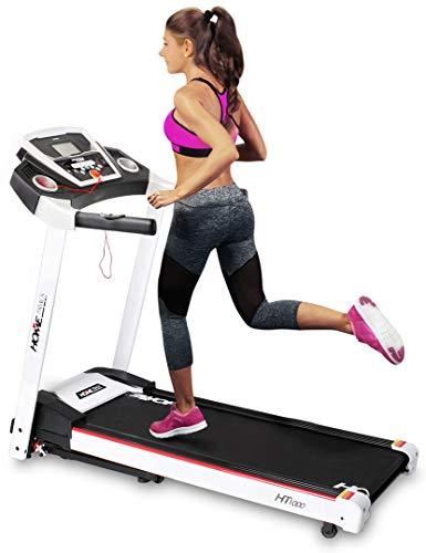 Miweba Sports elektrisches Laufband HT1000 - Incline 6% - Klappbar - 3,5 Ps - 16 Km/h - 12+4 Laufprogramme - Tablet Halterung - Große Lauffläche (Weiß)