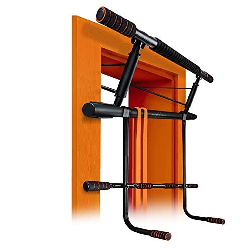 AthleticPro Klimmzugstange Türrahmen mit Dip Station– Belastbar bis 200KG – Sichere Pull up bar –Ohne Schrauben –20 cm höher im Rahmen –Dips&Push Ups