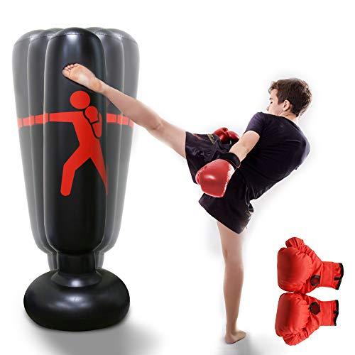 Snader Boxsack Kinder, Aufblasbarer Standboxsack Kinder, Boxsäule für Kinder und Erwachsene,Sandsäcke üben von Karate Taekwondo, Boxhandschuhen(160cm)