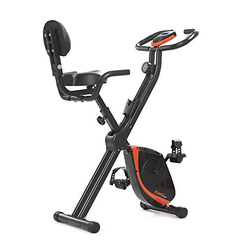Fuel Fitness HT200 Trimmrad Heimtrainer klappbar, Fahrrad Heimtrainer mit Rückenlehne, LCD-Display, 8 einstellbare Widerstandsstufen, Handpulssensoren, leiser Antrieb, Faltbarer Hometrainer bis 110kg
