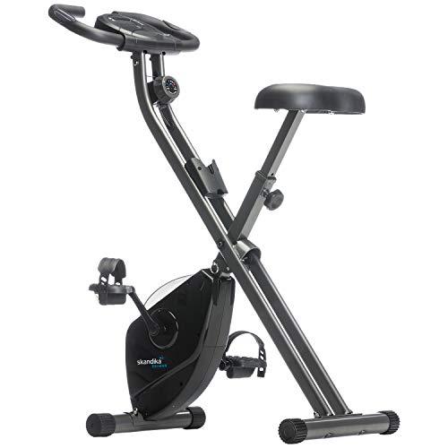 skandika Foldaway X-1000 Fitnessbike Heimtrainer x-Bike F-Bike klappbar mit Handpuls-Sensoren, 8-stufiger Magnetwiderstand, LCD Display, 130 Kg max. Gewichtsbelastung (schwarz)