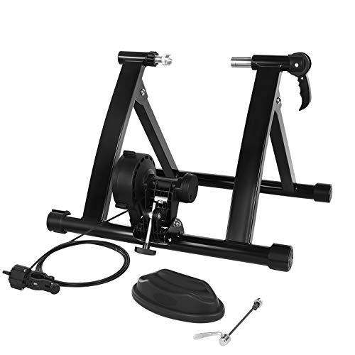 SONGMICS Rollentrainer, magnetischer Fahrrad-Widerstandstrainer mit geräuschreduzierendem Rad, mit Schnellspanner und Schnelllösevorrichtung, schwarz SBT003B01