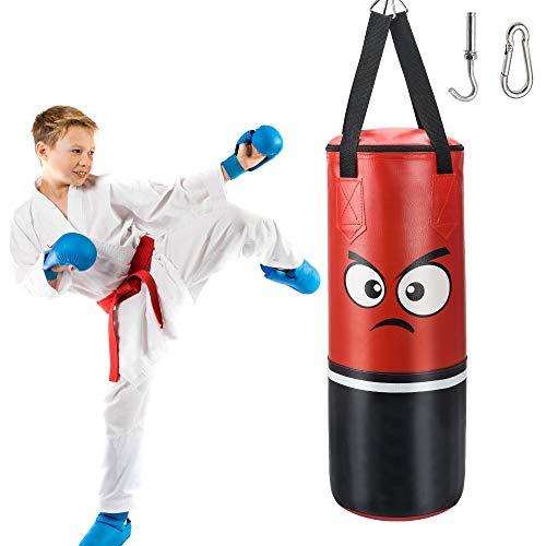 Boxsack Suspension Punchingsäcke für Kinder und Jugendliche, ungefüllt I 62 x 20 cm Explosionsgeschützt PU-Leder Punchingsäcke Kampfsport Punching Bag, Boxhaken Kick Bag für Boxtraining Sandsack