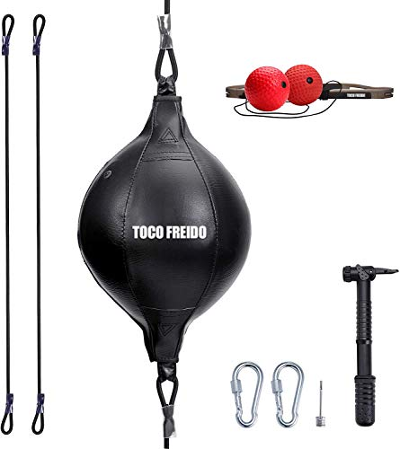 Toco Freido Doppelendball mit Pumpe und 2 oder 3 Box-Reflex-Ball mit Kopfband, perfekt für Fitnessstudio, MMA, Boxen, Sport, Boxsack, Reaktion, Agilität, Schlaggeschwindigkeit und Hand-Augen-Training