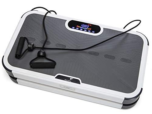 skandika Vibrationsplatte 900 Plus 3D Vibration 2 leise Motoren mit Smartphone-App und Bluetooth-Lautsprecher | 5 Programme + 60 Stufen | Inkl. Trainingsbänder, Fernbedienung, Poster | Fitnessgeräte