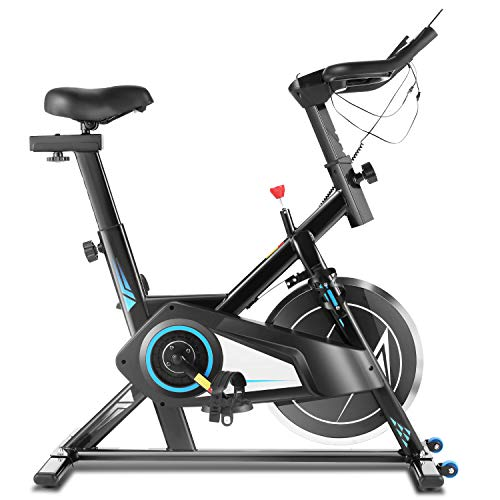 ANCHEER Heimtrainer Fahrrad Ergometer mit APP & 35lb Schwungscheibe, Leichtgängig und Leise Fitnessbike, Hometrainer Indoor Cycling Bike (Silber)