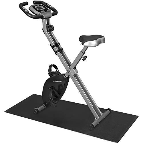 SONGMICS X Bike,Heimtrainer,Fahrradtrainer, Fitnessbike, zusammenklappbares Fitnessfahrrad, 8 magnetische Widerstandseinstellungen, Pulsmessung, Handyhalterung, bis 100 kg belastbar, schwarz SXB11BK
