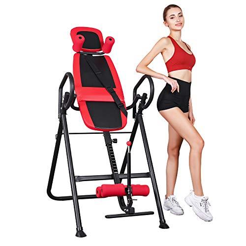 femor Inversionsbank, Schwerkrafttrainer mit Verstellbarer Kopfstütze und Schutzgürtel, für Zuhause mit vollständiger Inversion zur Entlastung der Wirbelsäule, Rückentrainer unterstützt bis zu 150 kg