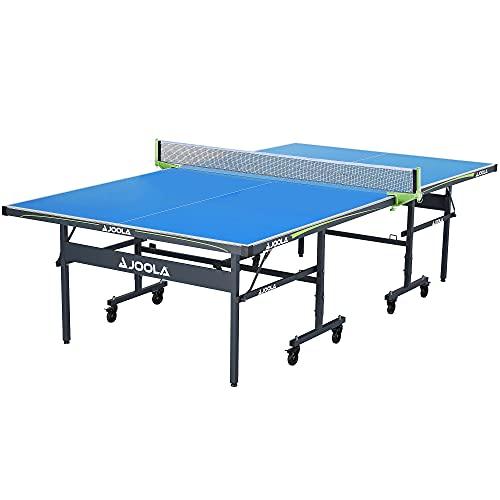 JOOLA Tischtennisplatte Outdoor Rally-Profi Tischtennistisch 6 MM Aluminium-Verbundoberfläche Wetterfest-Klappbares Untergestell-Schneller Aufbau, Blau, 274 x 152,5 x 76 cm