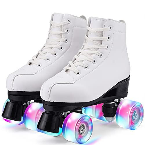 Damen Klassische Retro Rollschuhe,Rollschuhe mit Vier Rollen in Doppelreihe,Classic Roller, Rollschuhe für Kinder,LED Rollschuhe, ideal für Anfänger, komfortable Roller-Skates (40)