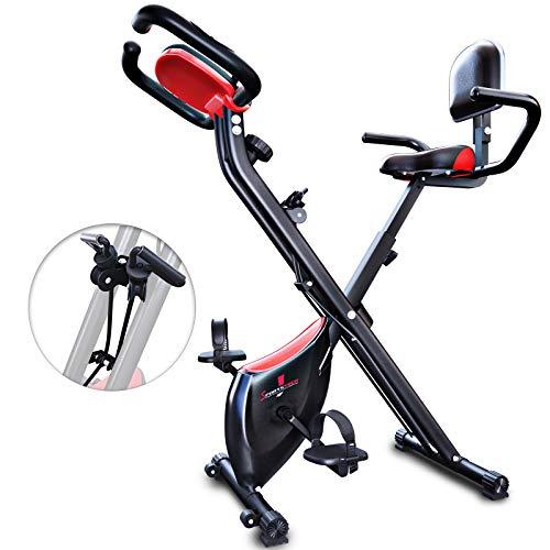 Sportstech X100-B - Bike 4in1 Heimtrainer -einzigartiges Zugbandsystem Handpulssensoren Ergometer Hometrainer- Faltbares Fitness Fahrrad-Tablethalterung Rückenlehne klappbar (X100-B)