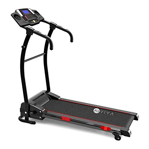 AsVIVA Laufband T17 Cardio Runner Heimtrainer - 12 km/h Geschwindigkeit, elektronischer 2,5 PS HighTech Motor – Fitnesscomputer mit 20 Trainingsprogrammen, manuelle 5% Steigung, kompakt klappbar