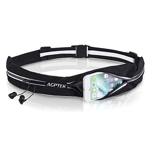 AGPTEK Laufgürtel für Handy, wasserdichte und verstellbare Lauftasche mit Reißverschluss, Hüfttasche für Joggen, Fitness, Radfahren, Reisen und Outdoor-Aktivitäten