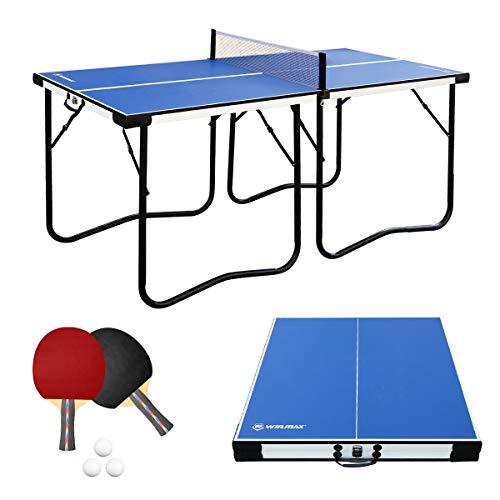 WIN.MAX Tischtennisplatte Midsize, 5.5FT Klappbare Tischtennistisch mit Netz, TT-Platte für Indoor (Blau)