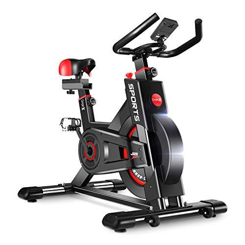 Dripex Heimtrainer, Fitnessbikes Ergometer mit Schutzhülle, Pulsmesser, stufenlose Widerstandseinstellung und großes Trägheitsschwungrad, Benutzergewicht bis 150kg