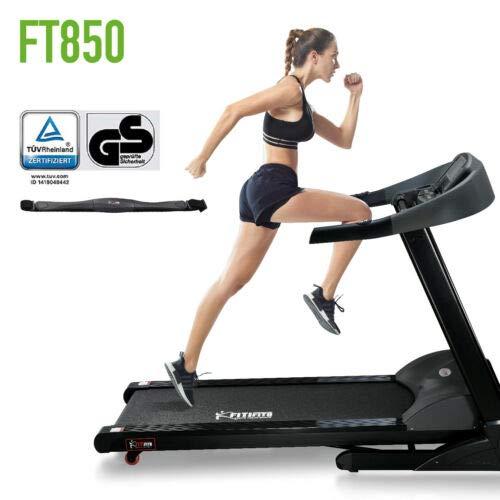 Fitifito FT850 mit TÜV GS Siegel Profi Laufband 7PS 22km/h, Dämpfungssystem, 5 Trainingsmodulen inkl. HRC - Klappbar, belastbar bis 150kg, Tablethalter, Schwarz, Pulsgurt
